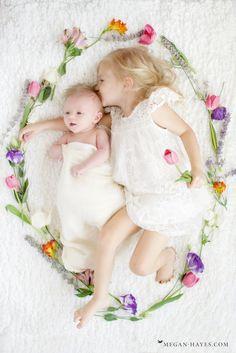 Newborn Photos - Sisters with Matching Flower Crowns - Santa Clarita Newborn Photographer