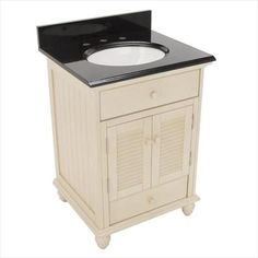 Foremost Group CTAABK2522D 25 in. x 22 in. Cottage Vanity in Antique White with Granite Top in Black