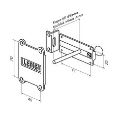 Klosettregel av mässing. Vändbar höger/vänster. Levereras med bleck för utåtgående dörr. Låsstången kapas till dörrens tjocklek minus 4 mm. Obs! Ej avsedd för låskista.