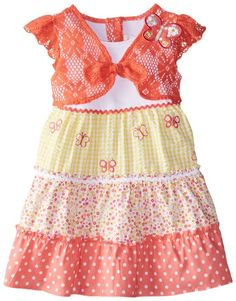 Youngland Little Girls 'Tiered Vestido de Verão Seersucker com Crochet Lace Bolero, Coral / Múltiplos, 2T