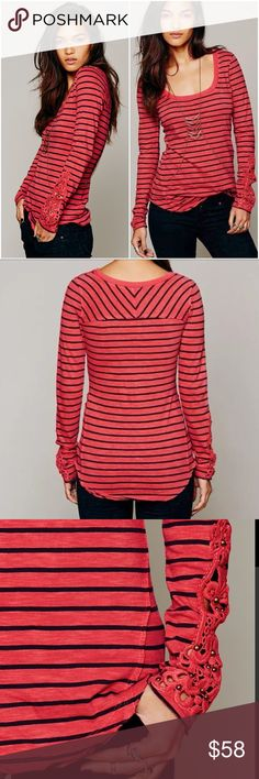 NWT Free People Hard Candy Striped Crochet Cuff S Striped long-sleeve top with crochet and bead detailing at each cuff. Subtle hi-low hem. Rounded neckline.  *100% Cotton *Machine Wash Cold *Import Free People Tops