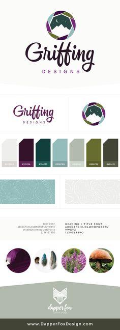Griffing Designs - Logo and Branding by Dapper Fox Design. Modern, Purple, Green, Blue, Earthy Logo Design. Script Font