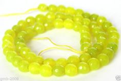 """Beautiful 6mm Natural Yellow Green Jade Faceted Round Gemstone Loose Beads 15"""""""