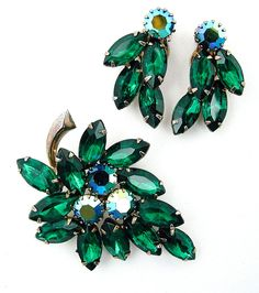 Vintage Rhinestone Brooch and Earrings Set AB & Dark Green Navettes Demi Parure