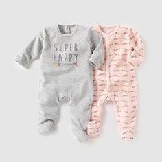 Pyjama velours (lot de 2) 0 mois-3 ans R mini - Cadeau de naissance