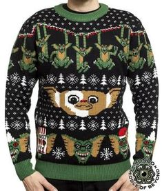 Gremlins Mondo Holiday Christmas Ugly Sweater Men's Large NEW Middle of Beyond! Best Ugly Christmas Sweater, Christmas Jumpers, Christmas Fun, Holiday Sweaters, Christmas Outfits, Christmas Print, Christmas Decorations, Les Gremlins, Moda Masculina