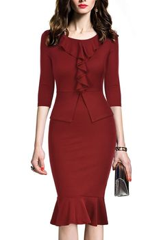 REPHYLLIS Women's Vintage One Piece Office Wear To Work Pencil Dress - best woman's fashion products designed to provide - Work Outfits Women Office Dresses, Office Outfits, Office Wear, Dresses For Work, Casual Office, Office Attire, Stylish Office, Casual Outfits, Women's Dresses
