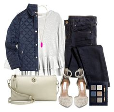 """Burberry Jacket"" by haleighhurst ❤ liked on Polyvore featuring Rebecca Taylor, J.Crew, Kendra Scott, Steve Madden, Burberry and Tory Burch"
