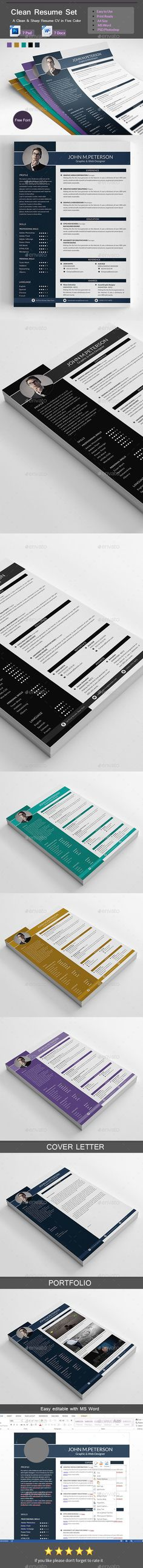 Resume — Photoshop PSD #clean #word resume template • Available here → https://graphicriver.net/item/resume/14944970?ref=pxcr