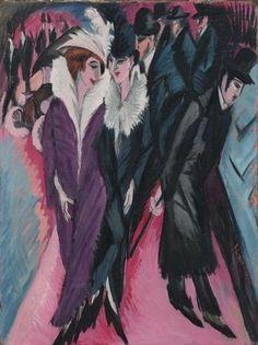 Ernst Ludwig Kirchner, Street Scene, Pastel, x Brücke Museum Berlin Ernst Ludwig Kirchner, Wassily Kandinsky, Berlin Street, Street Art, Berlin Berlin, Art Dégénéré, Degenerate Art, Berlin Museum, Expressionist Artists