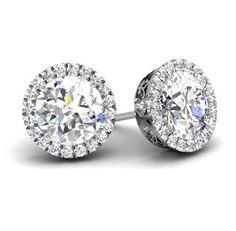 Diamond halo stud earrings.