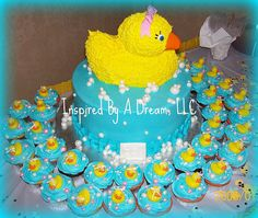 Duck cake and cupcakes - cute! Rubber Ducky Birthday, Duck Cake, Cupcake Cakes, Cupcakes, 2nd Birthday, Birthday Ideas, When I Grow Up, Different Recipes, Shower Cakes