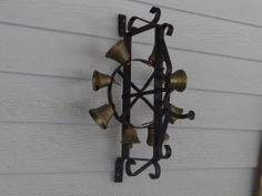 Wrought Iron Hand Turn Brass Bells Door Bell Ringer & Victorian Antique Mechanical u0027Ring of Bellsu0027 Front Door Bell Call ... pezcame.com