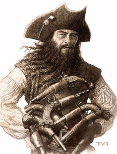 Summary Blackbeard concept inspired by Benicio del Toro. Source PIRATES OF THE CARIBBEAN - Miles Teves Licensing This image is a drawing, painting, print, or other two-dimensional work of art. The copyright is most likely owned by the artist or the party that commissioned the work or the heirs of thereof. It is believed that low-resolution works of art for commentary on the work in question qualifies as Fair-Use under the copyright laws of the United States.