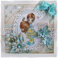 Flowers made using #Lemoncraft forget me not papers and #Timholtz border flower strip