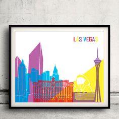 Las Vegas pop art skyline  Fine Art Print Glicee by Paulrommer