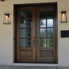 True Divided Lite Double Entry Door Sizes) Description This Andalucia 8 Lite True Divided Lite entry door is available in Double Front Entry Doors, Front Door Entryway, Wood Front Doors, Exterior Front Doors, The Doors, Front French Doors, Front Door With Glass, Front Door Lighting, Farmhouse Front Doors