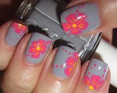 Tropical flower nails...I would prefer different colors
