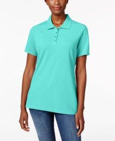 Karen Scott Short-Sleeve Polo Top, Only at Macy's - Blue XL