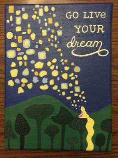 "Disney's Tangled ""Live Your Dream"" Quote Acrylic Painted Canvas (Diy Painting Disney) Disney Canvas Paintings, Disney Canvas Art, Art Disney, Cute Paintings, Disney Fun, Disney Tangled, Disney Canvas Quotes, Disney Live, Quote Canvas"