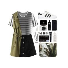 """""""go green"""" by theglampedia ❤ liked on Polyvore featuring moda, adidas Originals, Mauro Grifoni, Chanel, Nikon, Essie, philosophy, MAKE UP FOR EVER, Full Tilt y BOBBY"""