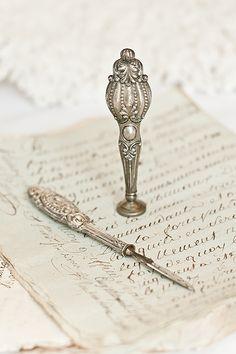 Victorian Sterling Ink Scraper & Wax Seal