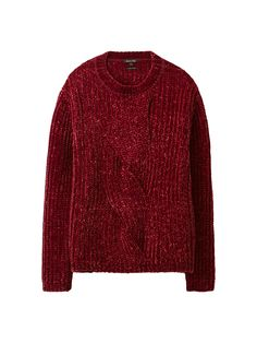 22760d321c Chenille sweater with cable-knit detailing. Features a straight fit