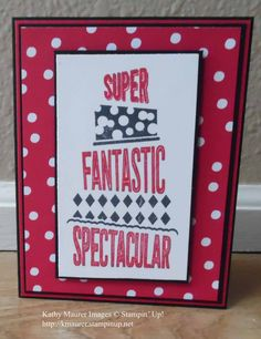 Congratulations Card made with Stampin' Up!'s Cake Crazy and Any Occasion Stamp Sets and Sending Love Paper.  For details, go to my Thursday, March 2, 2017 blog at http://www.stampinup.net/blog/2130686/entry/cake_crazy_congratulations_card