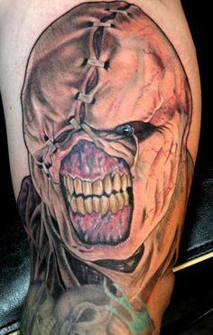 Resident Evil Tattoos, nicely done Evil Clown Tattoos, Zombie Tattoos, Funny Tattoos, Skull Tattoos, Body Art Tattoos, Horror Tattoos, Tatoos, Dope Tattoos, Dark Tattoo
