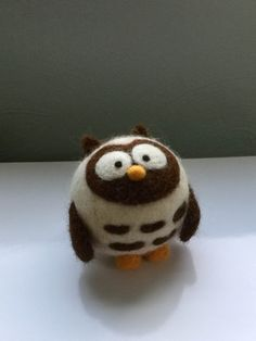 Round needle felted owl white black brown wool by MurpheeBe