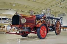 This 1918 American LaFrance fire pumper was created in tribute to the original Vesuvius, built by the American Manufacturing Company, which would later become known as the Amoskeag Manufacturing Company. This pumper is a combination of a 1904 steam powered pumping engine married to a 1918 American LaFrance tractor. Such combinations were common as the age of gasoline-engine propelled vehicles took hold and began to replace horse-drawn vehicles...
