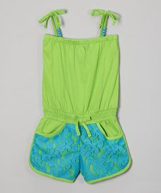Take a look at the Green Lace Romper - Infant, Toddler & Girls on #zulily today!