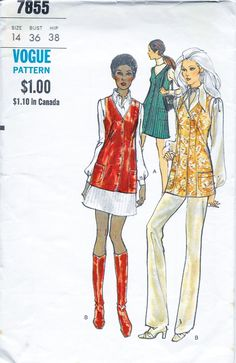 Vogue 7855 Women's 70s Tunic or Vest Sewing Pattern Bust 36 by Denisecraft on Etsy