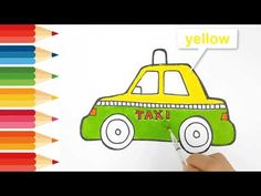 Step by step draw easy How to drawing and coloring a taxi Smart kids only