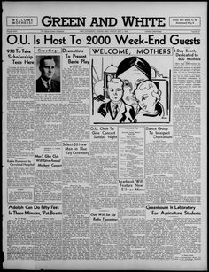 """The Green and White, May 1, 1936. """"O.U. is Host to 2000 Week-End Guests."""" Moms Weekend. """"More than 2000 visitors, including high school scholarship contestants, entrants in the Ohio Relays, and upwards of 600 parents of Ohio University students, were invading Athens today for the 11th Annual Mothers' Week-End celebration."""" Ohio University students and parents celebrated Moms Weekend in 1936 with concerts and contests. :: Ohio University Archives"""