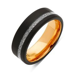 Meteorite Tungsten Wedding Band - Rose Gold Tungsten Ring - 8mm Ring - Unique Engagement Band - Comfort Fit
