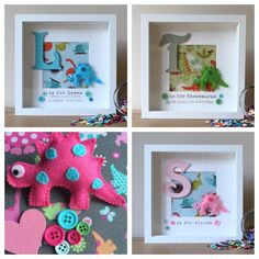 Dinosaur Theme Personalised Box Frame by CLSframes on Etsy
