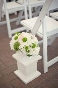 White, Pink + Green Aisle Markers I Wedding Wows I http://www.weddingwire.com/biz/wedding-wows-mississauga/portfolio/b9bd039dae8cbeb8.html?page=2&subtab=album&albumId=3dce6049321d79e3#vendor-storefront-content I #Wedding #Ceremony #Decor