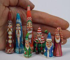 Lisa Scherer Art: Scherer Santa Claus and Other Miniatures and Ornaments Miniature Christmas, Christmas Minis, Christmas Wood, Christmas Deco, All Things Christmas, Vintage Christmas, Christmas Holidays, Clay Ornaments, Santa Ornaments