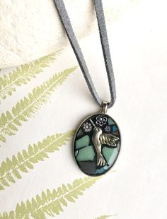 Teal Hummingbird necklace by marieappleyarddesign on Etsy Teal Necklace, Summer Necklace, Hummingbird Necklace, Duck Egg Blue, Homemade Jewelry, Teal Blue, Blue Bird, Handcrafted Jewelry, Mosaic