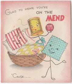 Vintage Greeting Card Anthropomorphic Sewing Fabric Thread Basket j822