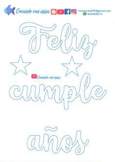 gracias mamita Virgen Maria y papito Dios por un lindo dia aca les comparto moldes de nombres y frases en letra cursiva,para utilizarlo en todo tipo de manualidades,espero les guste:) #moldesdeletra #manualidades #moldedeletrascursivas #tipodeletras #craft Diy Cake Topper, Birthday Cake Toppers, Soy Luna Logo, Free Printable Numbers, Easy Paper Crafts, Banner, Clip Art, Letters, Words