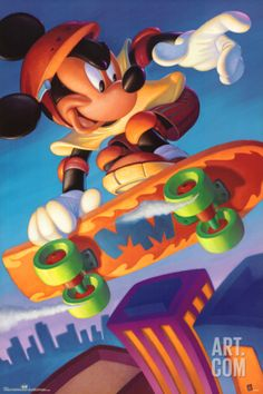 Mickey Mouse Skateboarding Poster at Art.com