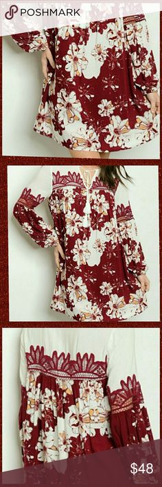 NWT. Floral Crochet Shift Dress Brand New / new with tags! Excellent condition. Maroon and Cream, floral shift dress.  Features: Round, neck tie (key hole), bloused sleeves, and beautiful crochet arm and chest detail.  Sizes: Small, medium, and large. Material: 100% Rayon Threadzwear Dresses Mini