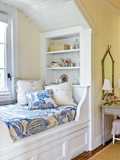 Trundle under the built-in bed. Take a Second Nook - Soothing Beachy Bedrooms - Coastal Living Bed Nook, Cozy Nook, Alcove Bed, Cosy Bed, Florida Home Decorating, Beach Inspired Bedroom, Sleeping Nook, Deco Marine, Built In Bed