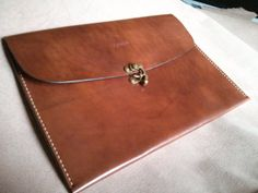 Genuine Leather Portfolio, Brown with Flap Handmade - Ant. Brass Hardware - USA Made