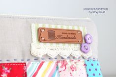 Shabby chic, patchwork bag, clutch, embroidered, zipper pouch, zipper bag, quilted bag,handmade by, Story Quilt