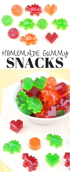 Healthy Snacks For Kids Homemade Gummy Snacks - I know I'm not the only one who likes sending in at least one treat with their kiddos for their long day at school and while I know these aren't the healthiest of homemade treats Snacks Diy, Snacks For Work, Lunch Snacks, Healthy Snacks For Kids, Gummy Fruit Snacks, Nacho Dip, Candy Recipes, Baby Food Recipes, Gelatin Recipes