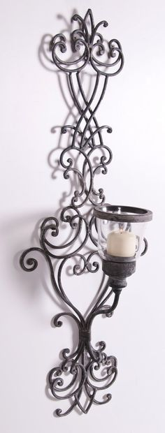 'Venetian Antellini' Vintage Wrought Iron Wall Sconce with Glass Candle Holder: Amazon.co.uk: Kitchen & Home