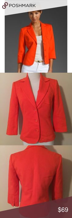"""NWOT Trina Turk """"oxford"""" cropped jacket For some reason there isn't a tag that size what size this is but it fits like a 2 or 4 in my opinion. Ships same or next day. Price firm unless bundled. Mint condition.  A vibrant jacket is styled with bold details including a high notched lapel and curved chest pocket while structured shoulders and cropped sleeves enhance the unique silhouette. Retails for $300! Chest pocket. Back vents. Approx. length from shoulder: 22 1/2"""". Lined…"""